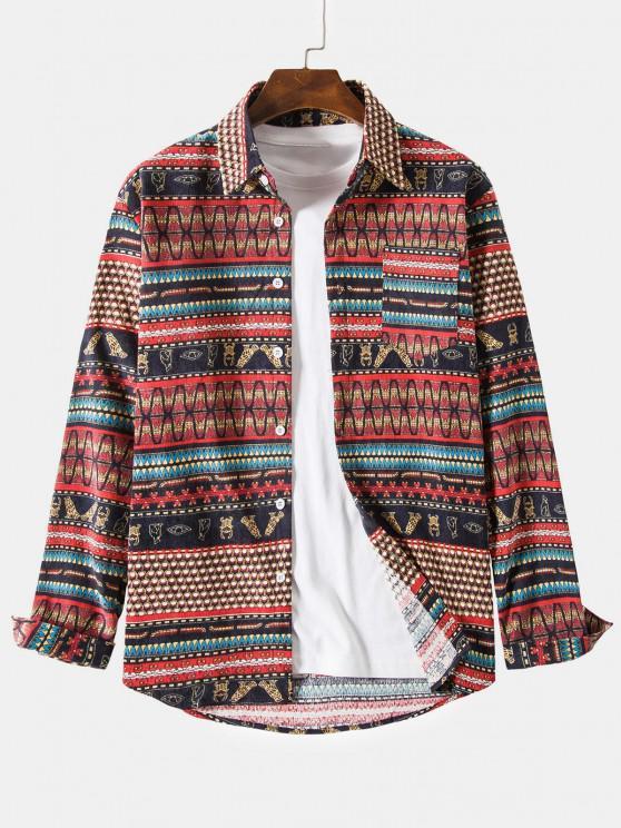 shop Ethnic Seamless Striped Pattern Button Up Corduroy Shirt - RED 4XL