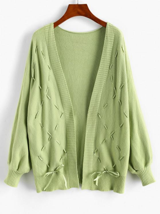 Lace-up Open Front Dolman Sleeve Cardigan - أخضر حجم واحد