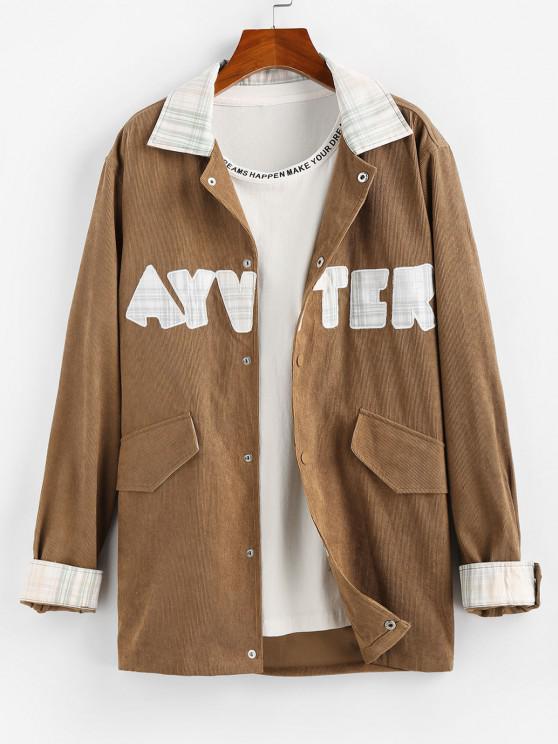 new ZAFUL Letter Patchwork Plaid Shirt Jacket - COFFEE 2XL