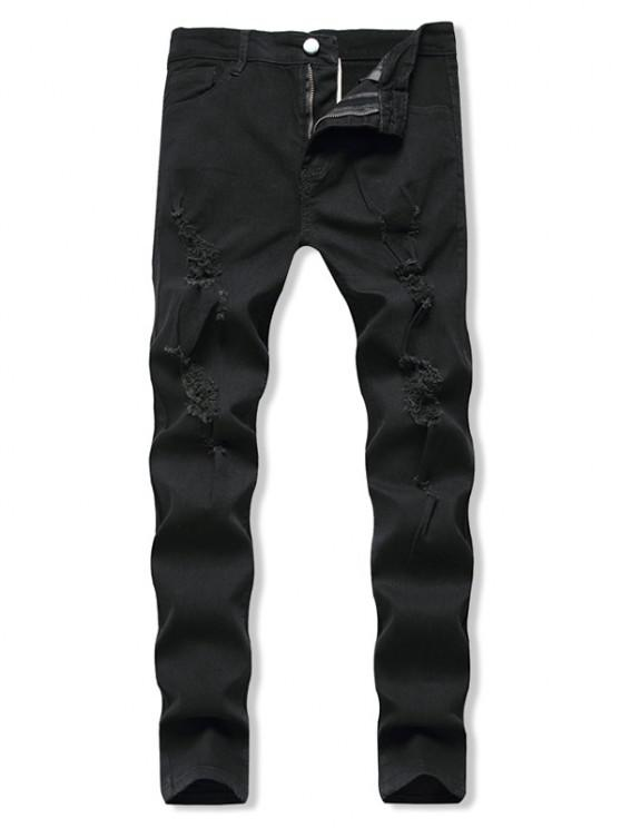 Distressed Destroy Wash Zip Fly Jeans - أسود XL