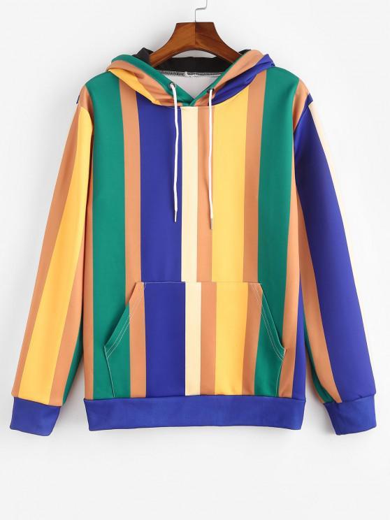women's Kangaroo Pocket Colorblock Stripes Hoodie - ORANGE GOLD M