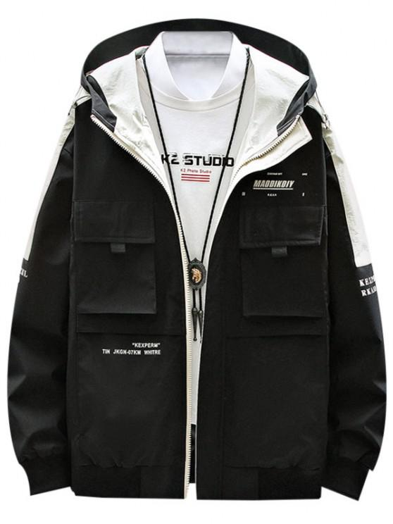 lady Contrast Patch Letter Print Flap Pocket Hooded Jacket - BLACK XS