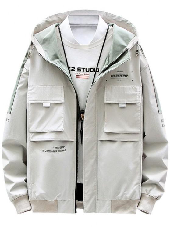 hot Contrast Patch Letter Print Flap Pocket Hooded Jacket - BEIGE M
