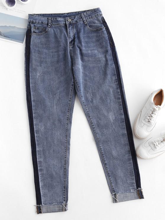 trendy Frayed Hem Contrast Side Skinny Jeans - OCEAN BLUE M