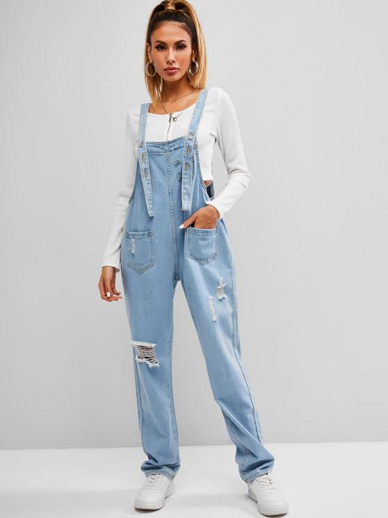 womens Ripped Front Pockets Dungaree - BLUE XL