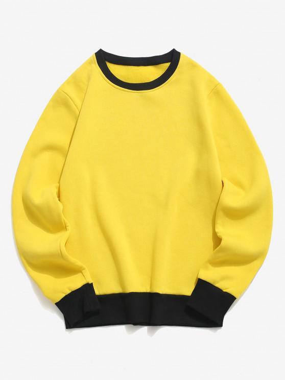 best Contrast Rib-knit Trim Fleece Sweatshirt - YELLOW L