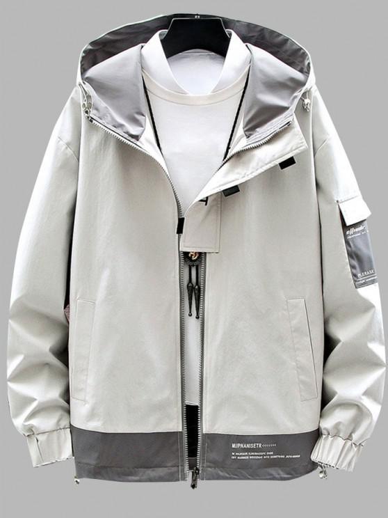 womens Colorblock Panel Letter Print Hooded Jacket - BEIGE M