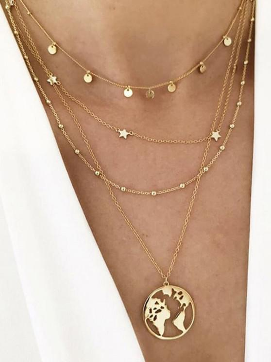 Hollow Map Star Layered Necklace - ذهبي