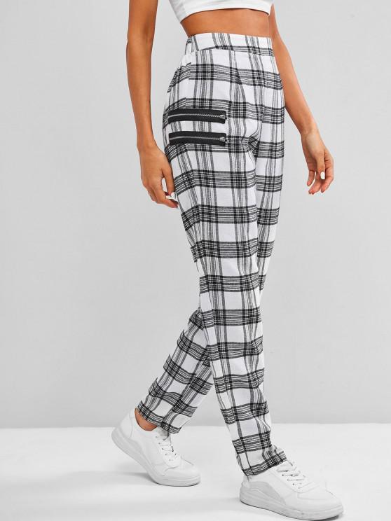 ZAFUL High Rise Plaid Zippered Pants - أبيض XL