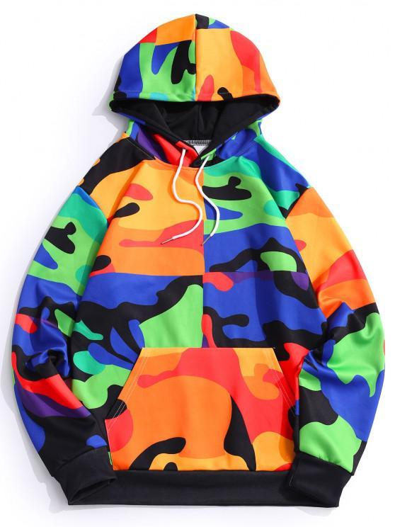 Camouflage Print Kangaroo Pocket Hoodie - كوبالت بلو L