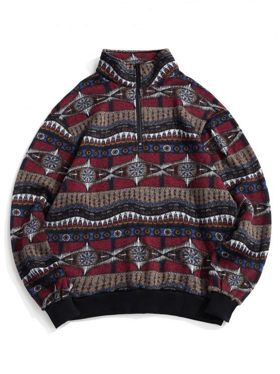 Tribal Pattern Fleece Knit Sweatshirt - متعدد XL