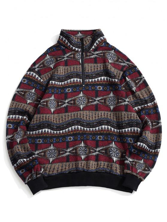latest Tribal Pattern Fleece Knit Sweatshirt - MULTI M