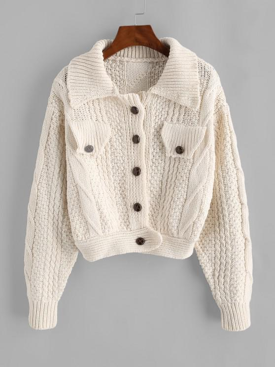 Flap Detail Button Up Cable Knit Cardigan - أبيض حجم واحد