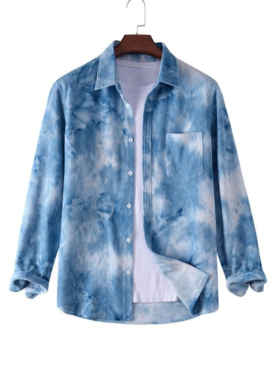 latest Tie Dye Print Pocket Corduroy Shirt - LIGHT BLUE 2XL