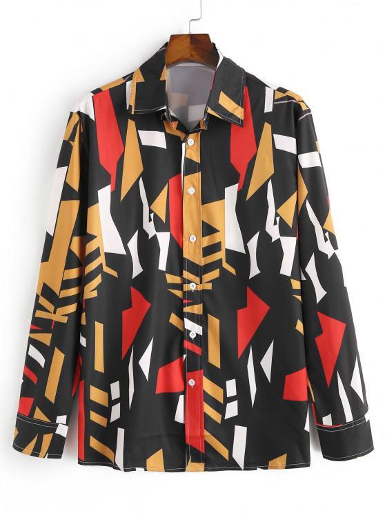 fancy Geometric Pattern Collared Long Sleeve Shirt - BLACK M