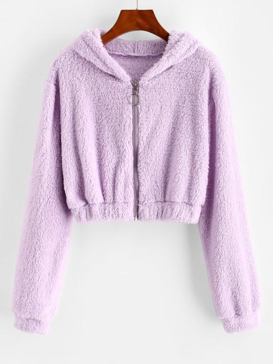 Hooded Full Zip Fluffy Coat - ضوء ارجواني L