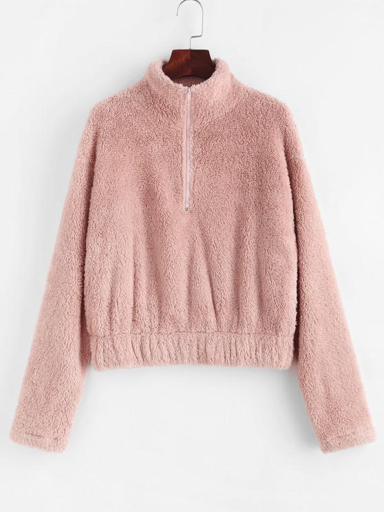 chic ZAFUL Half Zip Faux Fur Drop Shoulder Sweatshirt - LIGHT PINK L