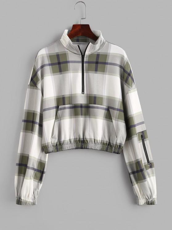 ZAFUL Plaid Drop Shoulder Half Zip Pocket Sweatshirt - السرخس الأخضر S