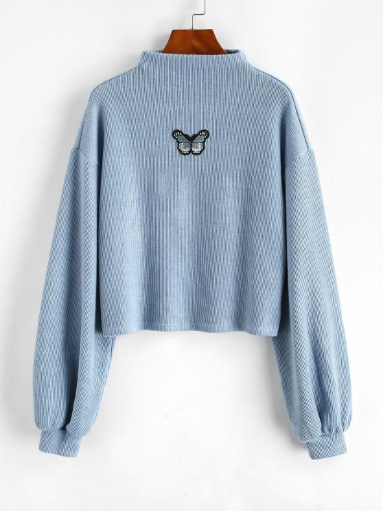 women ZAFUL Mock Neck Butterfly Patched Ribbed Sweatshirt - BLUE S