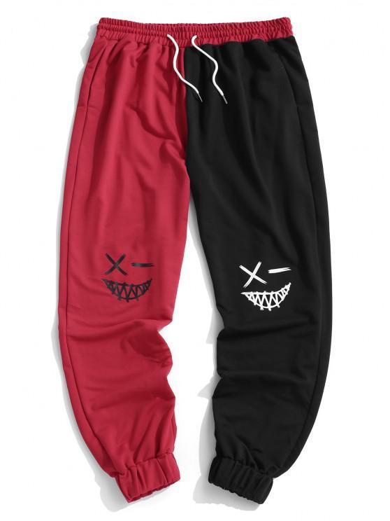Pantalones Deportivo Dos Tonos Dibujos Animados - Rojo XL