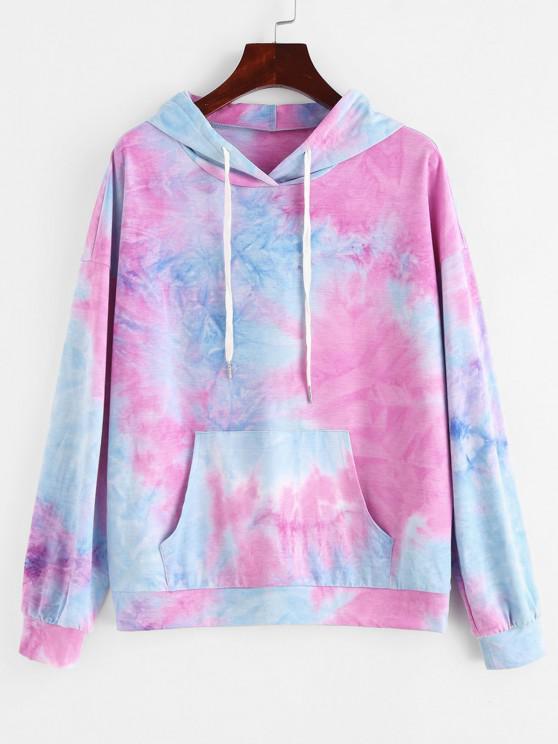 buy ZAFUL Tie Dye Drop Shoulder Pocket Loose Hoodie - MULTI-A M