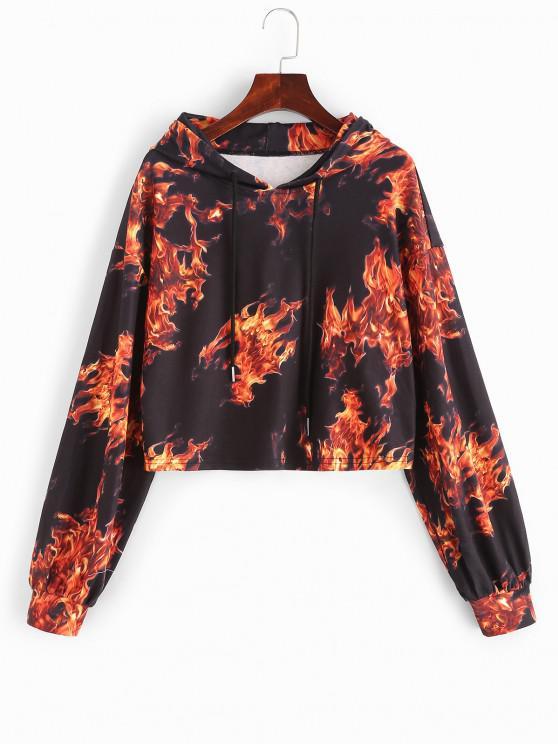 women's ZAFUL Drop Shoulder Flame Print Crop Hoodie - BLACK S