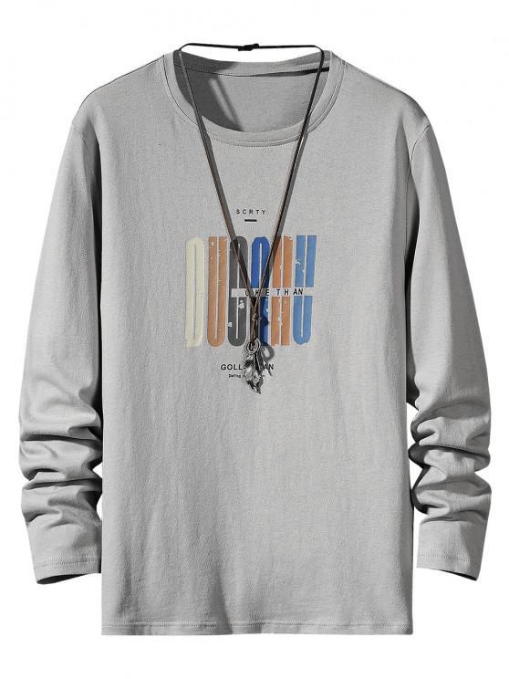 hot Letter Pattern Long Sleeve Basic T Shirt - GRAY M