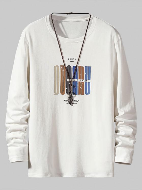 Letter Pattern Long Sleeve Basic T Shirt - أبيض XS