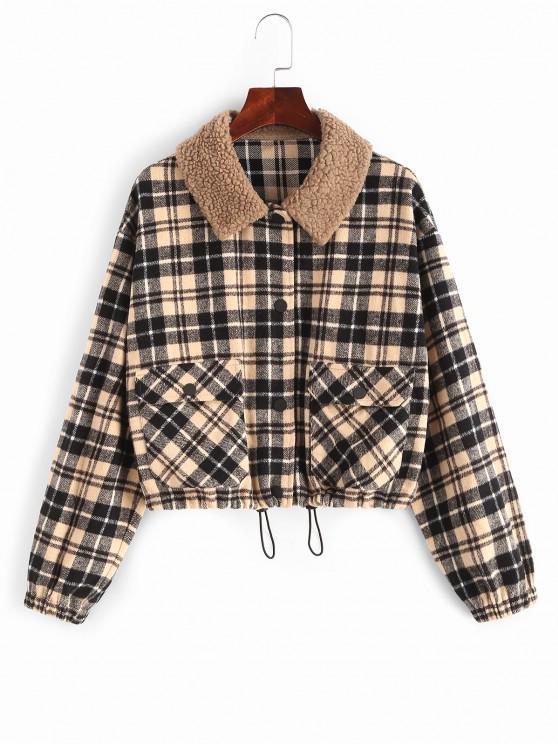 online ZAFUL Plaid Pocket Teddy Collar Jacket - MULTI-A L
