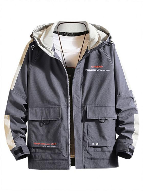 Letter Print Contrast Patch Raglan Sleeve Hooded Jacket - الرمادي الداكن M