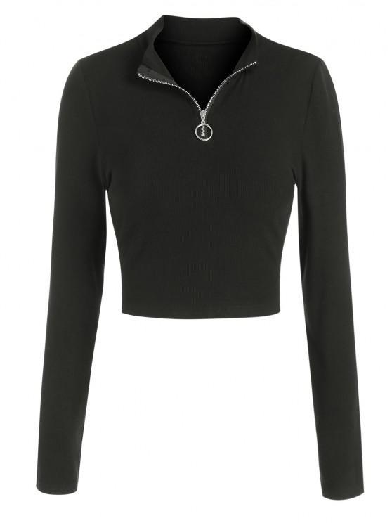 ZAFUL T-shirt Court à Demi-Zip - Noir S