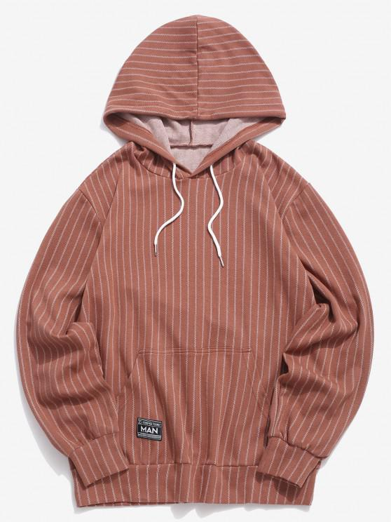 sale Stripes Kangaroo Pocket Casual Hoodie - COFFEE S