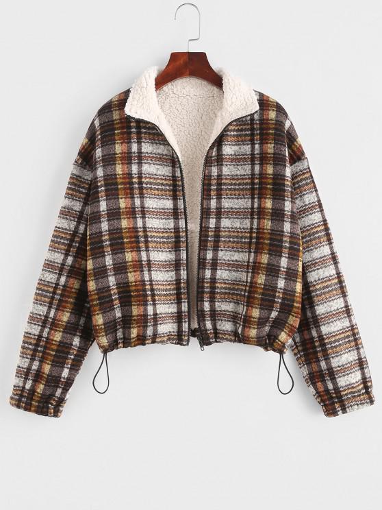 womens ZAFUL Plaid Teddy Lined Drop Shoulder Jacket - COFFEE M