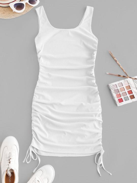fancy ZAFUL Ribbed Cinched Tank Dress - WHITE M