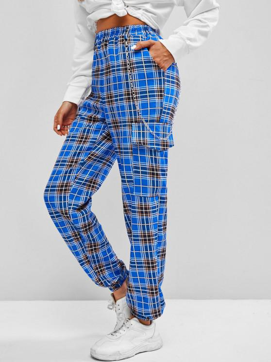 outfits ZAFUL Pockets Chain Plaid Cargo Pants - BLUE L