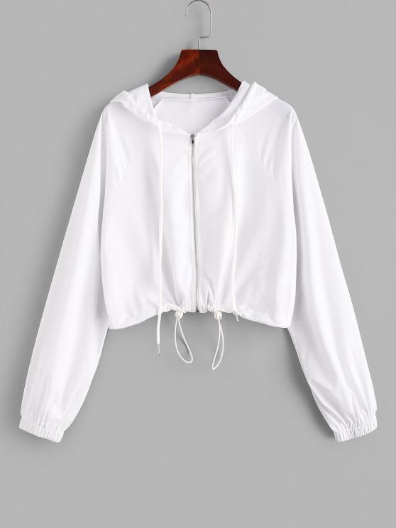 ladies ZAFUL Raglan Sleeve Zip Up Crop Hoodie - WHITE S
