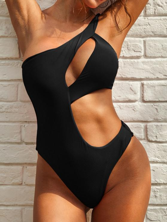 fashion ZAFUL Cutout One Shoulder Ribbed One-piece Swimsuit - BLACK S