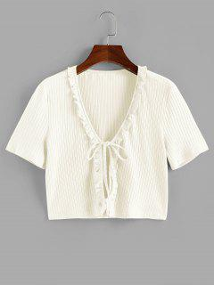 ZAFUL Ruffle Front Tie Ribbed Crop Tee - White M