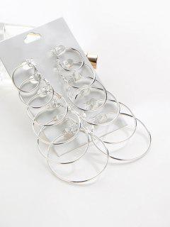 6 Pairs Exaggerated Hoop Earrings Set - Silver