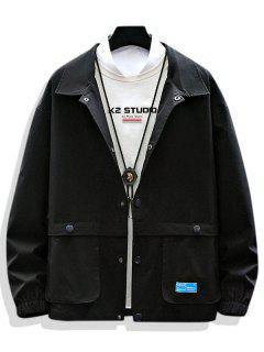 Solid Applique Pocket Patch Jacket - Black L