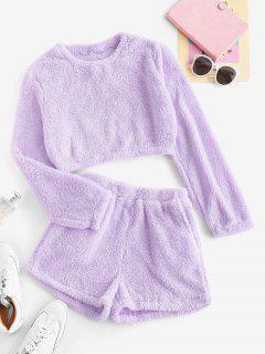 Lounge Plush Pocket Shorts Set - Light Purple M