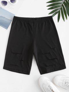 Distressed High Waisted Biker Shorts - Black S