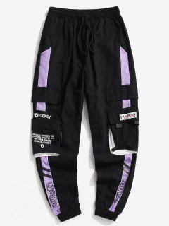 Pantalones De Carga Con Estampado De Letras Y De Bloqueo De Colores - Púrpura S