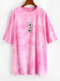 ZAFUL Casual Tie Dye Floral Tee Dress - Pink S