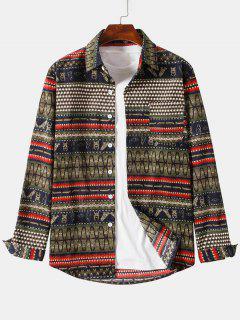 Ethnic Seamless Striped Pattern Button Up Corduroy Shirt - Brown 3xl