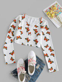 ZAFUL Ribbed Butterfly Print Crop T-shirt - White S