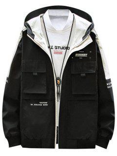Contrast Patch Letter Print Flap Pocket Hooded Jacket - Black M