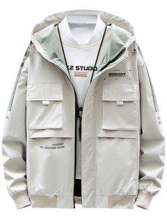 Contrast Patch Letter Print Flap Pocket Hooded Jacket - Beige M