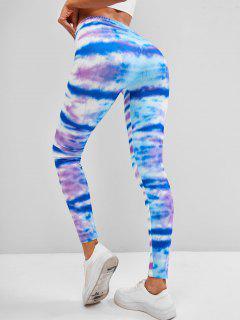 Tie Dye Stripes Skinny Leggings - Blue