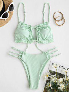 ZAFUL Ribbed Braided Ladder Cutout Tie Bikini Swimwear - Light Green S